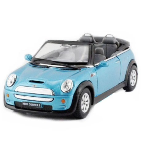 Mini Cooper S Convertible 1:28-1:32 Blauw - Miniatuur wagentjes