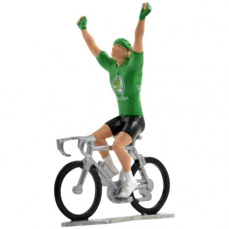 Groene trui winnaar HW-W - Miniatuur wielrennertjes