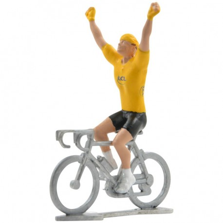 Gele trui winnaar HW - Miniatuur wielrennertjes