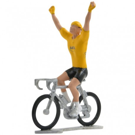 Gele trui winnaar HW-W - Miniatuur wielrennertjes