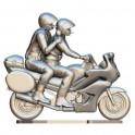 Motor met bestuurder en journalist met microfoon op maat - Miniatuur wielrenners