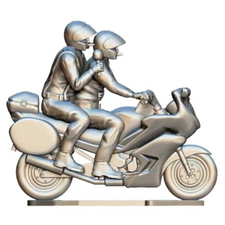 Motorbike with driver and journalist with microphone custom - Miniature cyclist figurines