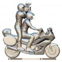 Motor met bestuurder en cameraman op maat - Miniatuur wielrenners