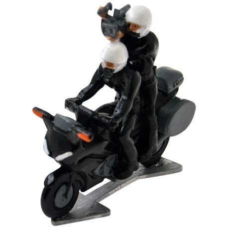 Motorbike with driver and cameraman - Miniature cyclist figurines
