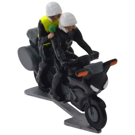Motorbike with driver and journalist with microphone - Miniature cyclist figurines