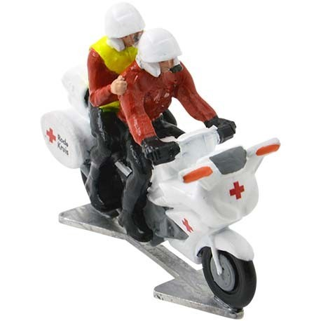 Medical motorbike with driver and doctor red cross - Miniature cyclist figurines